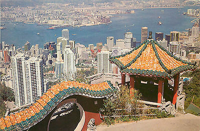 Contiental Postcard Hong Kong and Kowloon China From the Peak Posted 1984