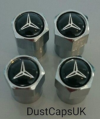 MERCEDES Plastic Silver Wheel Tyre Valve Dust Caps A B C Class S SLK C63s AMG UK