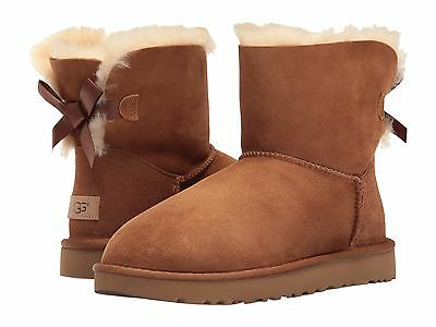 Women's Shoes UGG Mini Bailey Bow II Boots 1016501 Chestnut *New*