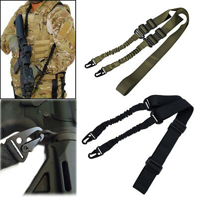 Adjustable Tactical 2 Two Point Sling Dual Bungee Straps Snap Hook Quick Release