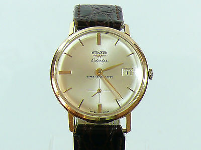 VINTAGE DUWARD GENTS 18K SOLID GOLD CIRCA 1950s CALENDAR MANUAL WIND W/WATCH