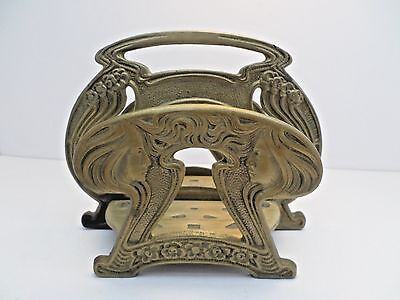Antique Art Nouveau letter holder book stand Michigan Ave Foundry Chicago brass