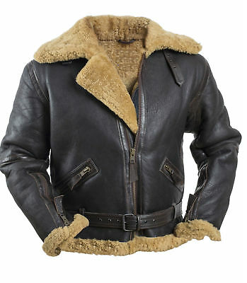 Men's RAF B3 Brown Bomber Real Shearling Real Leather Jacket