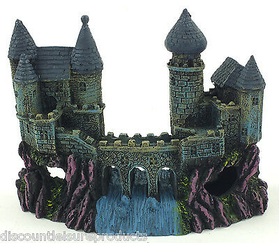 Aquarium Castle Fort With Bridge Waterfall Ornament Fish Tank Decoration #1027R
