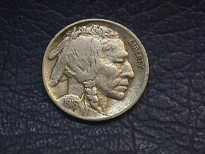1916-P Buffalo Nickel In Very Fine Condition Free Shipping.