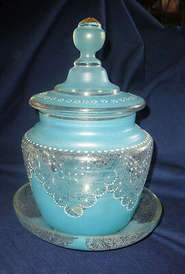 Antique  Moser Blue Glass Hand Painted and Enamelled Syllabub Punch Bowl