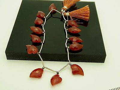 Carnelian Whimsical Heart Shape Gemstone Briolette Faceted Top Drilled Beads