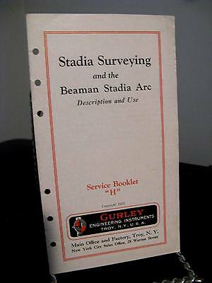 """Gurley Engineering Stadia Surveying Service Booklet """"H"""" - 16 Pages 1929"""