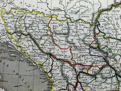 Turkish Europe Greece Balkans Bosnia Serbia Hungary c.1840 Monin antique map