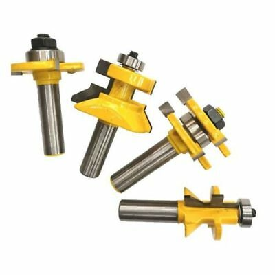 """4 Pcs YG6 Alloy Tongue & Groove and V-notch Router Bit Set For CNC 1/2"""" Shank"""