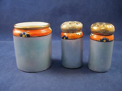 Toothpick Holder Salt and Pepper Shakers Set Blue Iridescent Orange Flowers