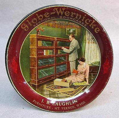 1910 GLOBE-WERNICKE Sectional Bookcases MT. VERNON Washington tin litho tip tray