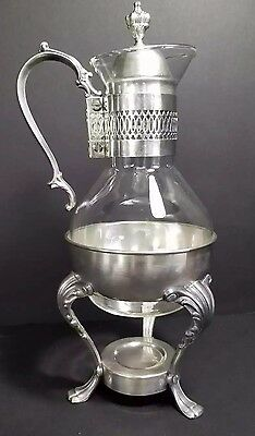 Vintage Silver Plate Coffee Tea Pot Glass Carafe Warmer Stand Mid Century