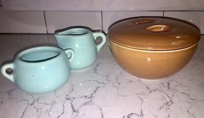 Camark Pottery Co Vintage Turquoise Blue Creamer and Sugar, #897 And #898 USA
