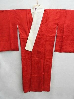 Antique Japanese Shu Red Silk Woven 'Floral Carts' Juban/Under-Kimono/Robe M/L