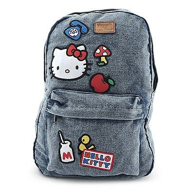 NWT Loungefly Hello Kitty Icon Patch Denim Embroidered Backpack