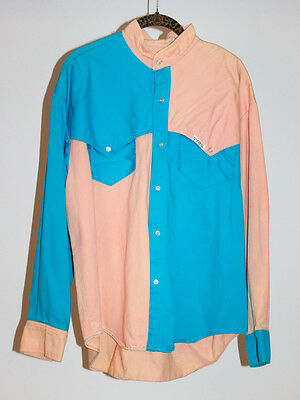 VINTAGE 90s RARE Color Block Long Sleeve Button Down Denim Shirt Mens Size Large