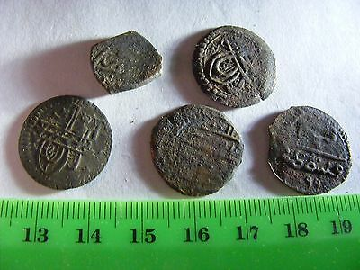 Lot of 5 ANTIQUE Ottoman/Muslim Copper Coins,mixed good condition used.(A).