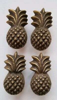 4 pieces Solid Brass Tropical PINEAPPLE Cabinet Drawer Handle Knob Pulls #K16