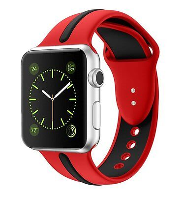 Silicone Watch Band for Apple Series 2/Series 1 Sport Style (Red)(42mm)