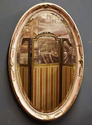 Original French 'Shabby Chic' Antique Pink & Gilt Oval Bevelled Wall Mirror