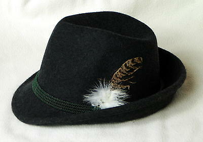 Grey Wool Barvarian Oktoberfest Alpine Hat  with Feather with cording  - size 54