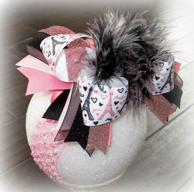 Paris Over the Top Bow, Big baby Headband, Large Marabou Feather girls hair bows