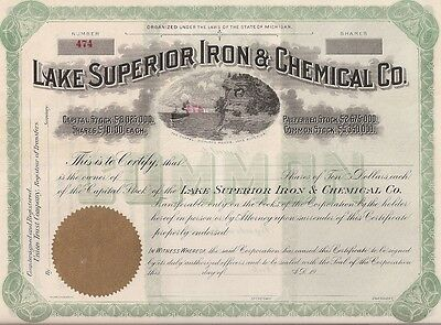 Lake Superior Iron & Chemical Co.....early 1900's Unissued Stock Certificate