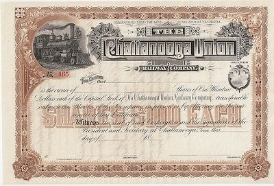 The Chattanooga Union Railway Company....1800's Unissued Stock Certificate