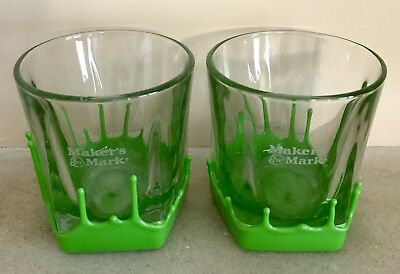 Makers Mark Bourbon Classic Rare Green Wax Dipped Low Ball Glasses Set Of 2