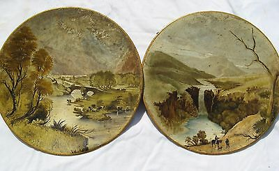 V Rare Pair Oils on Metal Plates Toleware Lake District 1803
