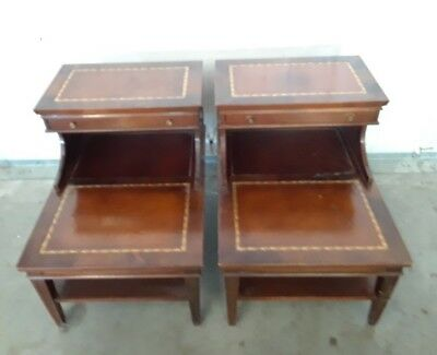 Pair Antique Stair Step Tier End Tables w/ Leather Inserts & Drawer Wood