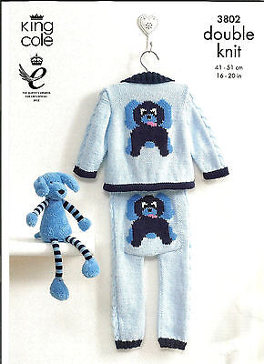 King Cole Comfort,baby Puppy Motif Jacket & Leggings Double Knitting Pattern