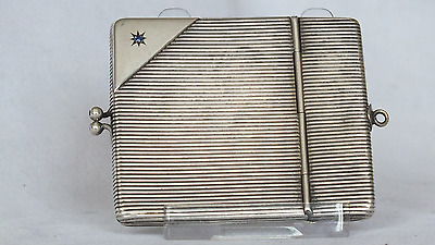 Solid Silver Lady's Card Case With Blue Diamonds 'Stunning Item'