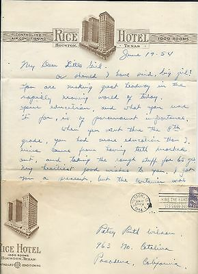 "1950s Vintage ""Rice Hotel"" Houston Texas STATIONERY Letter+Blank Page Great Cond"