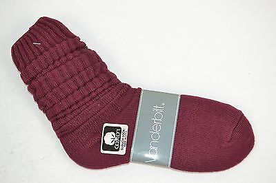 Vtg 1980's 1 Pair Cotton SLOUCH Baggy Socks BURGUNDY - NEW OLD STOCK