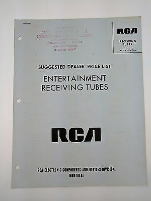 RCA Entertainment Receiving Tubes Suggested Dealer Price List March 1968 Manual
