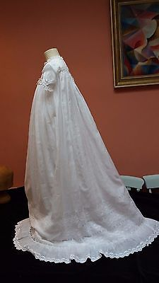 Antique Vin Victorian Whitework Hand Embroidery Christening Gown Dress Baby Doll