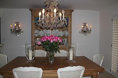 Pair of Italian Antique Gilded Crystal and Beaded Wall Sconces.
