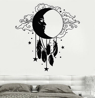 Vinyl Wall Decal Moon Face Feather Dreamcatcher Stickers (1578ig)