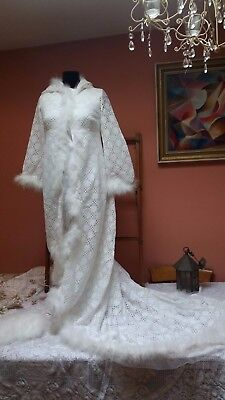 Vintage Wedding Dress Set Hooded Lace Coat Maribou Muff Satin Dress Snow Queen