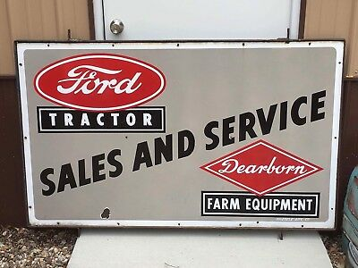 Ford TRACTOR sales SERVICE Dearborn FARM Equipment 2 Signs BACK 2 BACK Porcelain