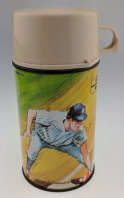 Vintage Baseball Thermos 1969 King-Seeley Bottle No 2805 Plastic Metal MLB