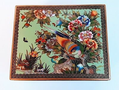 Fine Antique Japanese Cloisonne Box with Birds Meiji Period, Probably Inaba