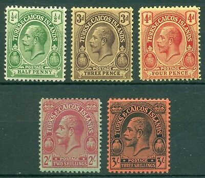 Turks & Caicos Islands Scott #44//57 MH King George V Assortment 2sh 3sh CV$45+