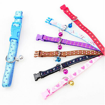 Small Dog Puppy Cat Pet Adjustable Nylon Collar Black Red Pink or Blue