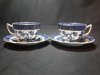 Booths Real Old Willow Blue A8025  Pair of Cup & Saucers