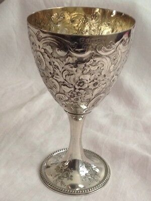 Wine SilverPlated Goblet- Engraved & Decorated-Hallmarked