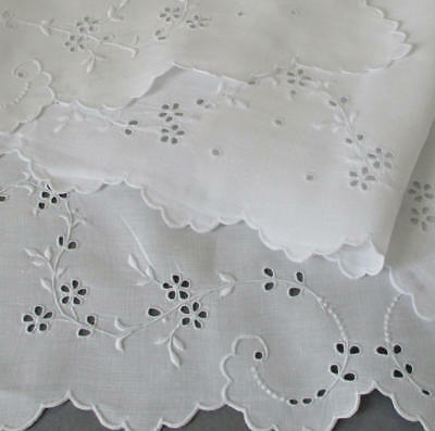 """Vintage BRODERIE ANGLAISE Hand Embroidered Whitework 52"""" Runner Flowers EYELETS"""