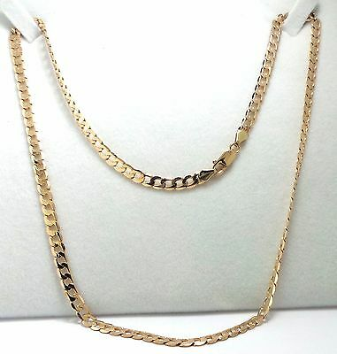 9Ct Yellow Gold Flat Curb Link Chain Necklace - 12.00 Grams - 51Cm